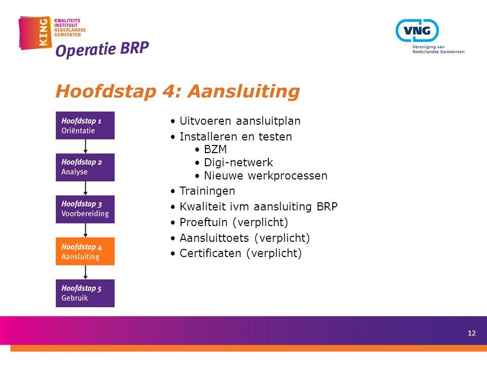 13 Hoofdstap 5: Gebruik • Aangesloten op BRP • Werken met BRP (praktijk) • Ontmantelen GBA-systeem • Afronding project en decharge