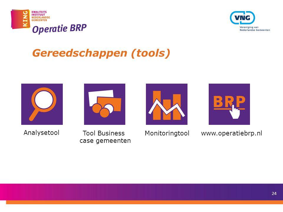 24 Gereedschappen (tools) Analysetool Tool Business case gemeenten Monitoringtoolwww.operatiebrp.nl