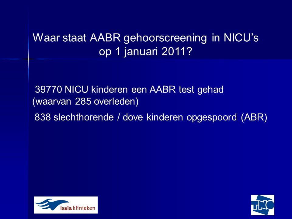 Web-based registratie: Integratie met JGZ Inlog procedure wijzigt 2011: onderzoek naar niet of niet tijdig screenen NICU gehoorscreening:TNO