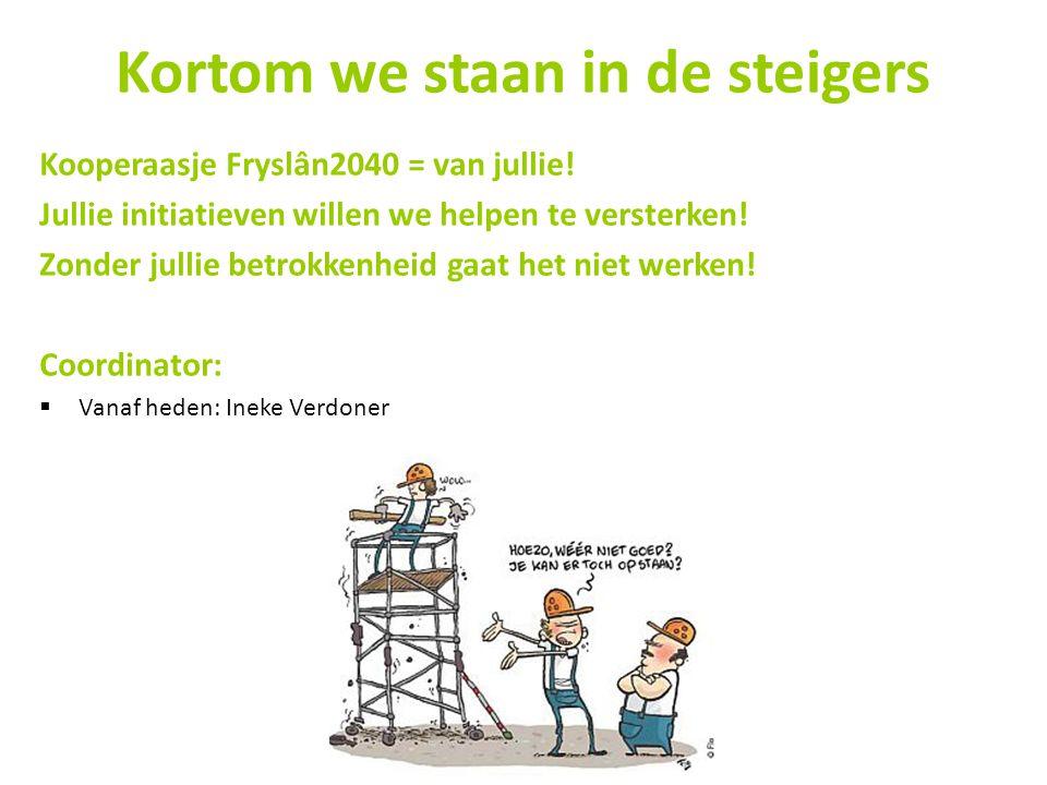 Kortom we staan in de steigers Kooperaasje Fryslân2040 = van jullie! Jullie initiatieven willen we helpen te versterken! Zonder jullie betrokkenheid g