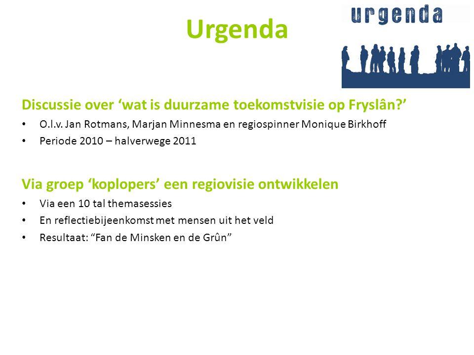 Urgenda Discussie over 'wat is duurzame toekomstvisie op Fryslân?' • O.l.v. Jan Rotmans, Marjan Minnesma en regiospinner Monique Birkhoff • Periode 20