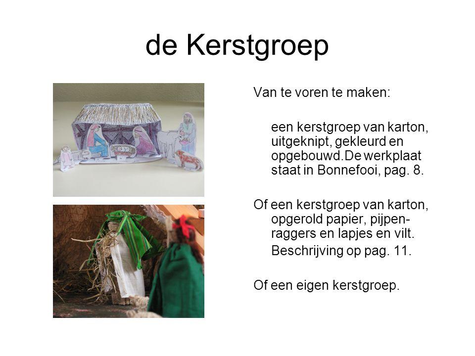 de Kerstgroep Van te voren te maken: een kerstgroep van karton, uitgeknipt, gekleurd en opgebouwd.De werkplaat staat in Bonnefooi, pag.