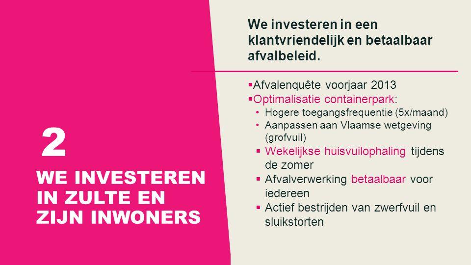 WE INVESTEREN IN ZULTE EN ZIJN INWONERS 2 We investeren in een klantvriendelijk en betaalbaar afvalbeleid.