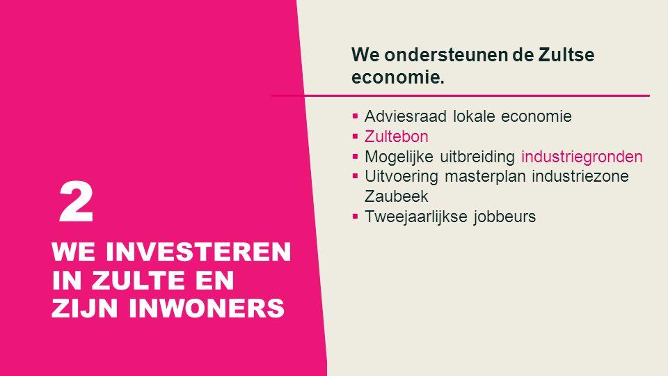 WE INVESTEREN IN ZULTE EN ZIJN INWONERS 2 We ondersteunen de Zultse economie.