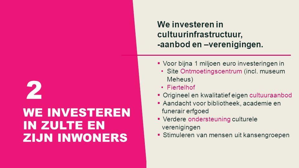WE INVESTEREN IN ZULTE EN ZIJN INWONERS 2 We investeren in cultuurinfrastructuur, -aanbod en –verenigingen.
