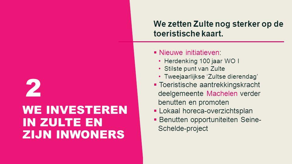 WE INVESTEREN IN ZULTE EN ZIJN INWONERS 2 We zetten Zulte nog sterker op de toeristische kaart.