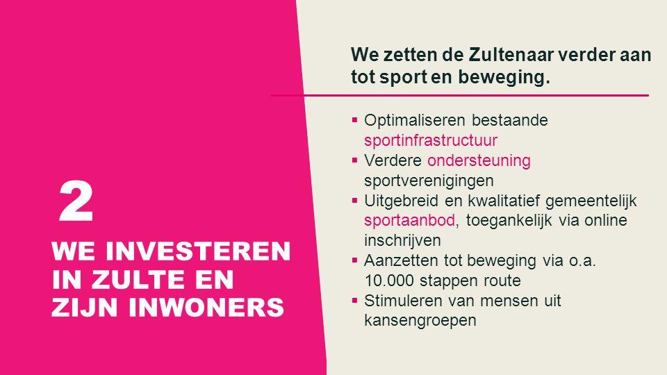WE INVESTEREN IN ZULTE EN ZIJN INWONERS 2 We zetten de Zultenaar verder aan tot sport en beweging.