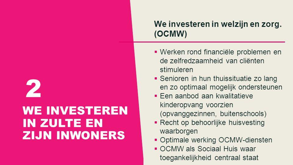 WE INVESTEREN IN ZULTE EN ZIJN INWONERS 2 We investeren in welzijn en zorg.