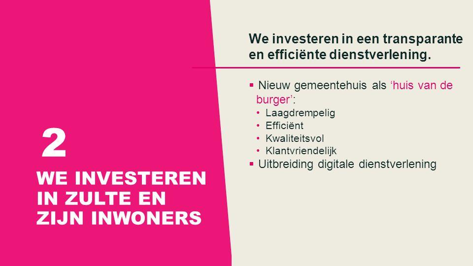 WE INVESTEREN IN ZULTE EN ZIJN INWONERS 2 We investeren in een transparante en efficiënte dienstverlening.