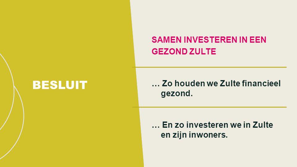 SAMEN INVESTEREN IN EEN GEZOND ZULTE … Zo houden we Zulte financieel gezond.