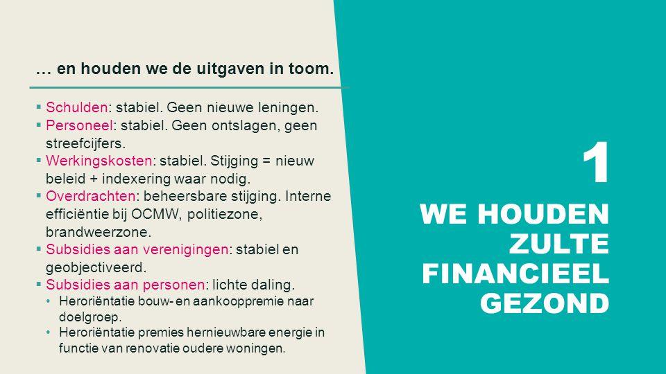 WE HOUDEN ZULTE FINANCIEEL GEZOND … en houden we de uitgaven in toom.