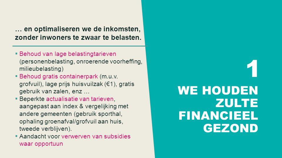 WE HOUDEN ZULTE FINANCIEEL GEZOND … en optimaliseren we de inkomsten, zonder inwoners te zwaar te belasten.