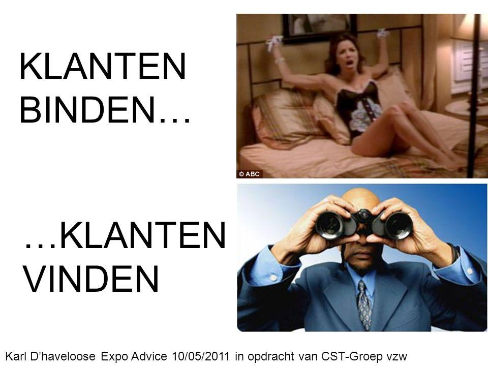 Karl D'haveloose Expo Advice 10/05/2011 in opdracht van CST-Groep vzw KLANTEN BINDEN… …KLANTEN VINDEN