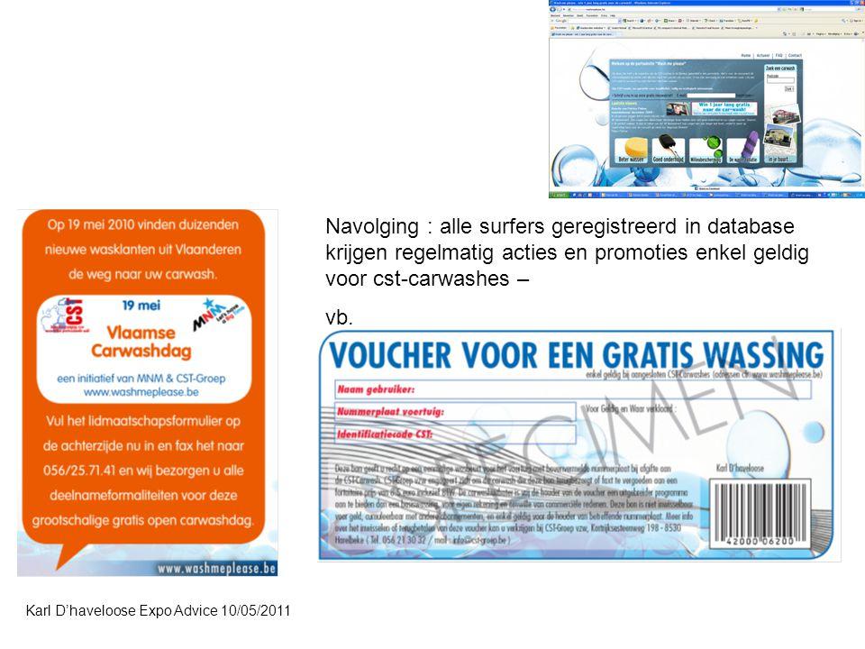 Karl D'haveloose Expo Advice 10/05/2011 Navolging : alle surfers geregistreerd in database krijgen regelmatig acties en promoties enkel geldig voor cst-carwashes – vb.