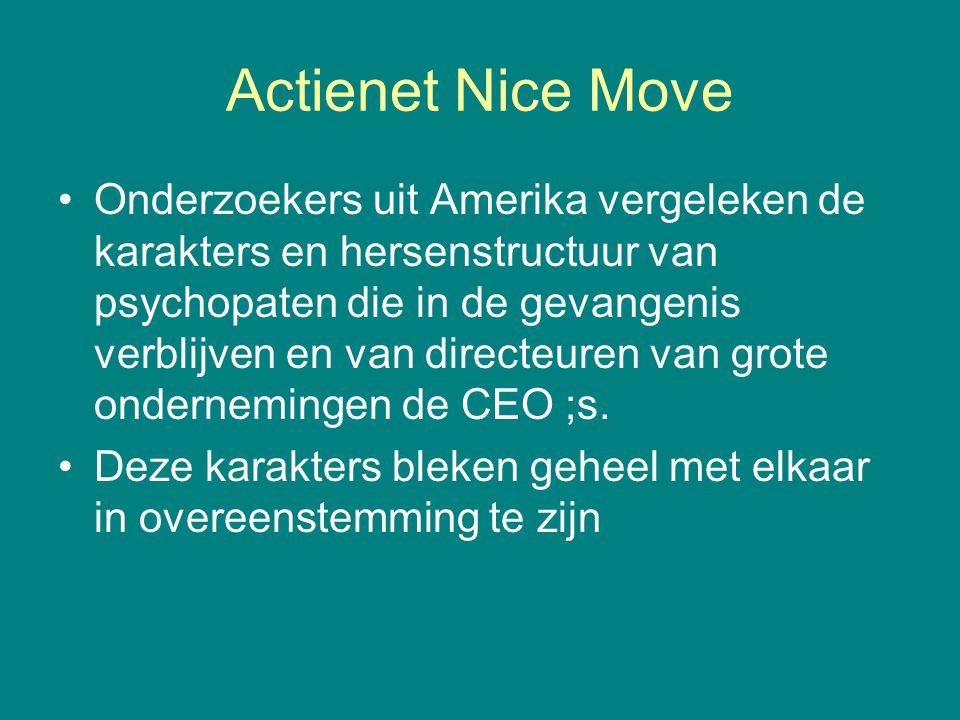 Actienet Nice Move •Onderzoekers uit Amerika vergeleken de karakters en hersenstructuur van psychopaten die in de gevangenis verblijven en van directe