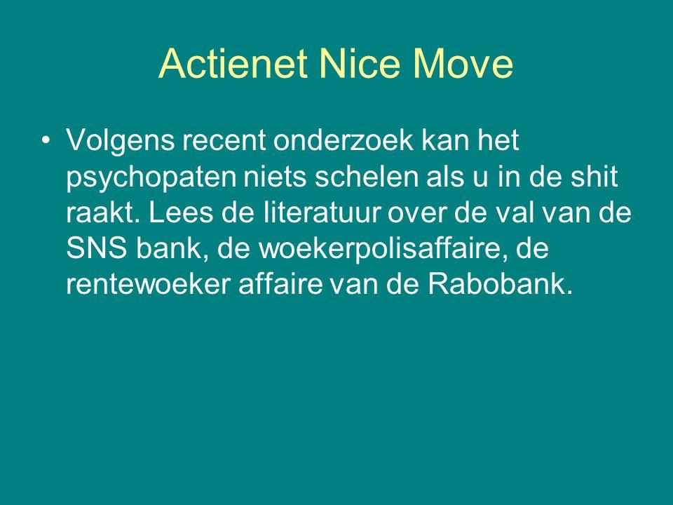 Actienet Nice Move •Volgens recent onderzoek kan het psychopaten niets schelen als u in de shit raakt. Lees de literatuur over de val van de SNS bank,