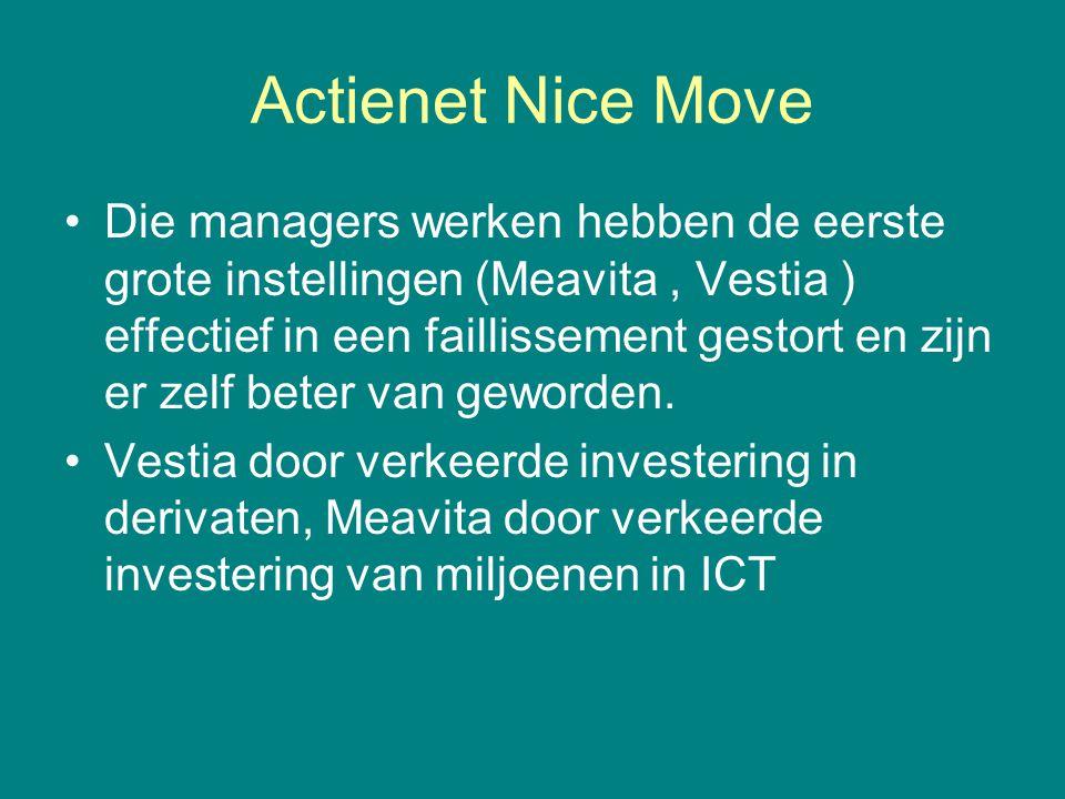 Actienet Nice Move •Die managers werken hebben de eerste grote instellingen (Meavita, Vestia ) effectief in een faillissement gestort en zijn er zelf