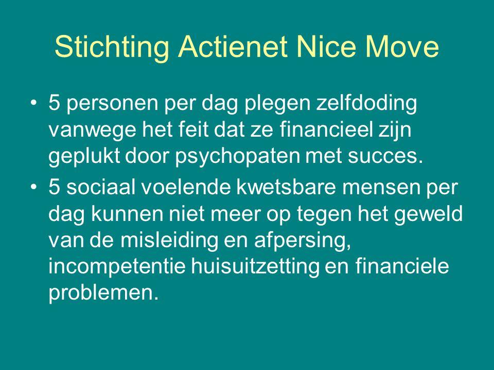 Stichting Actienet Nice Move •5 personen per dag plegen zelfdoding vanwege het feit dat ze financieel zijn geplukt door psychopaten met succes. •5 soc