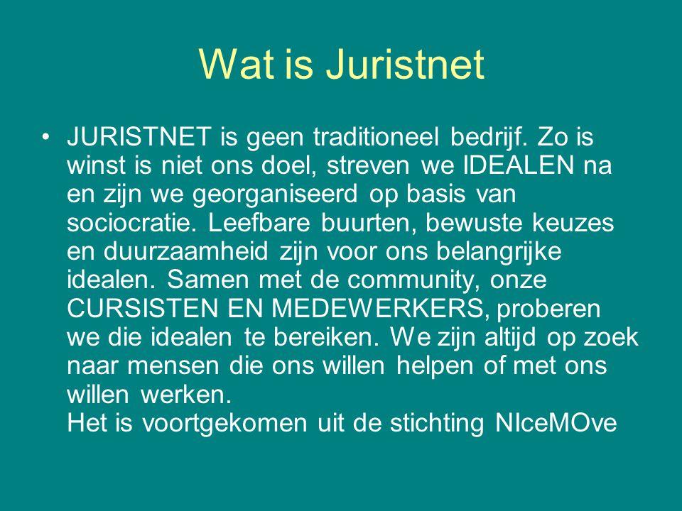 Wat is Juristnet •JURISTNET is geen traditioneel bedrijf. Zo is winst is niet ons doel, streven we IDEALEN na en zijn we georganiseerd op basis van so