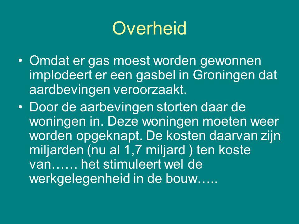 Overheid •Omdat er gas moest worden gewonnen implodeert er een gasbel in Groningen dat aardbevingen veroorzaakt. •Door de aarbevingen storten daar de