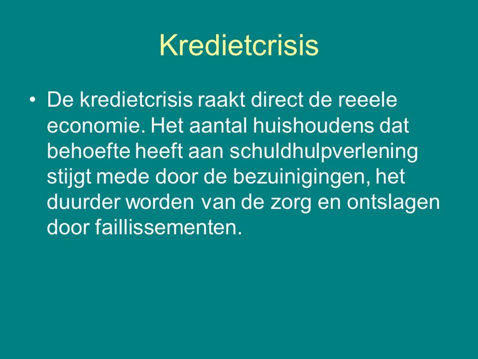 Kredietcrisis •De kredietcrisis raakt direct de reeele economie. Het aantal huishoudens dat behoefte heeft aan schuldhulpverlening stijgt mede door de