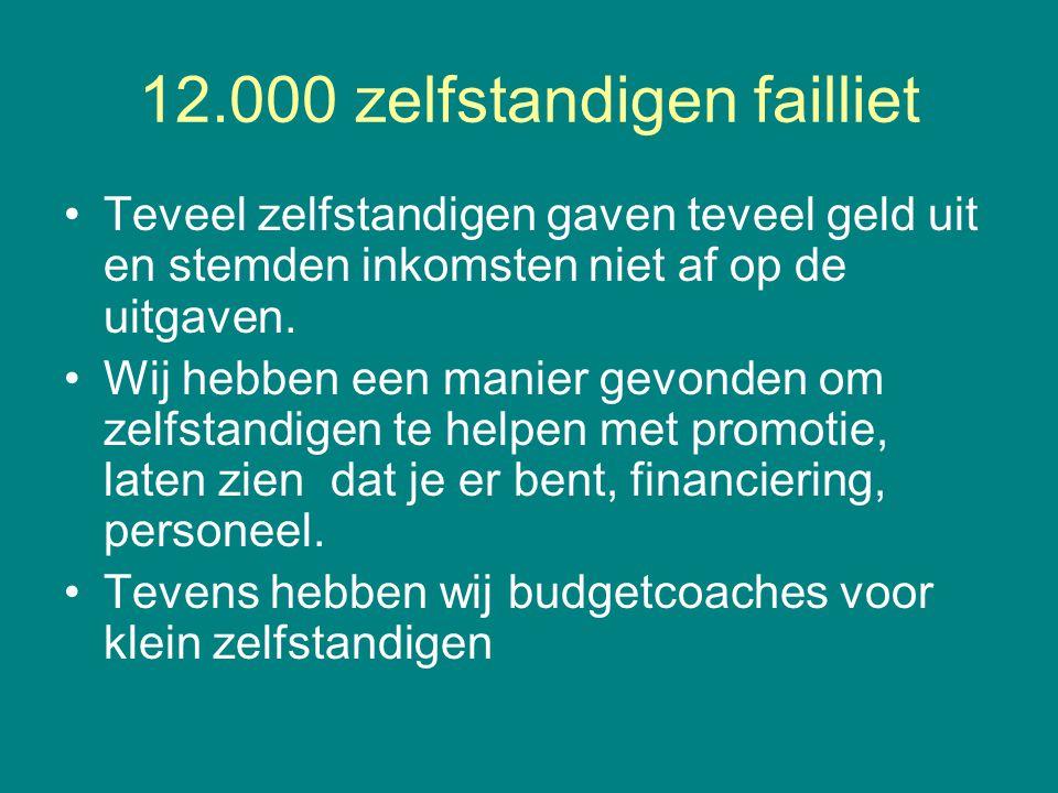 12.000 zelfstandigen failliet •Teveel zelfstandigen gaven teveel geld uit en stemden inkomsten niet af op de uitgaven. •Wij hebben een manier gevonden