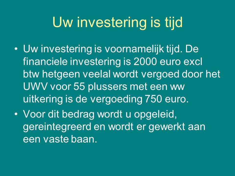 Uw investering is tijd •Uw investering is voornamelijk tijd. De financiele investering is 2000 euro excl btw hetgeen veelal wordt vergoed door het UWV
