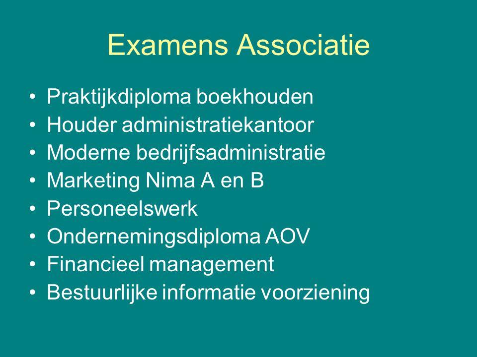 Examens Associatie •Praktijkdiploma boekhouden •Houder administratiekantoor •Moderne bedrijfsadministratie •Marketing Nima A en B •Personeelswerk •Ond