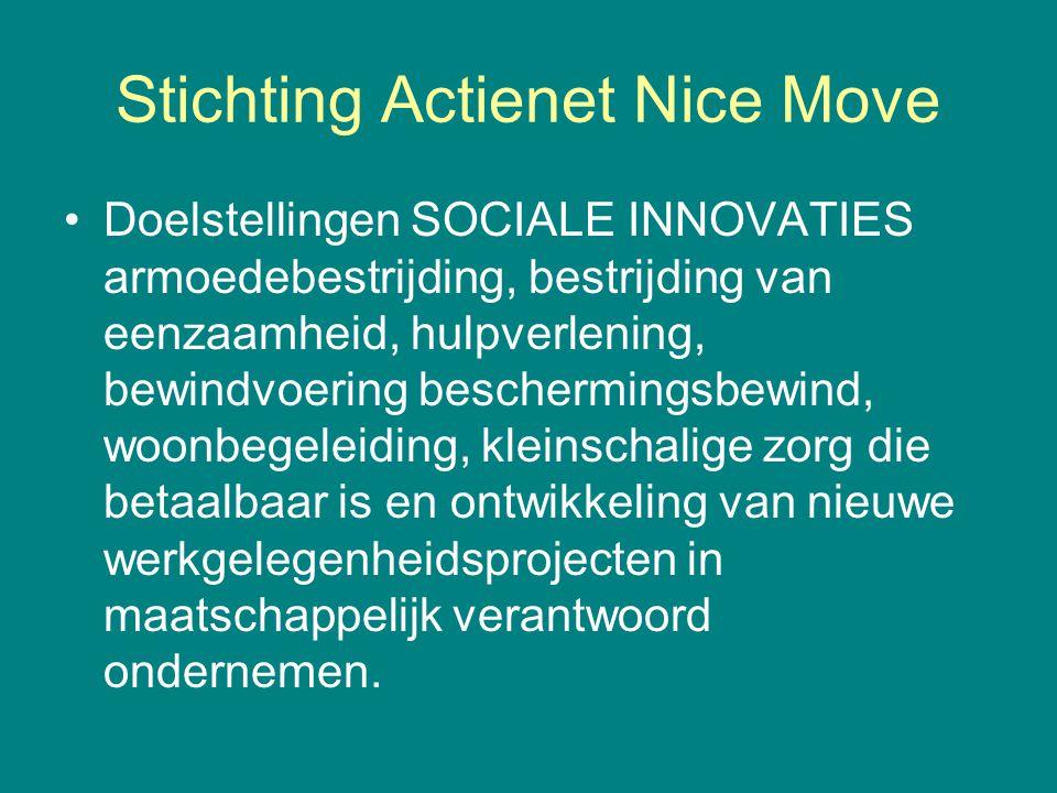 Stichting Actienet Nice Move •Doelstellingen SOCIALE INNOVATIES armoedebestrijding, bestrijding van eenzaamheid, hulpverlening, bewindvoering bescherm