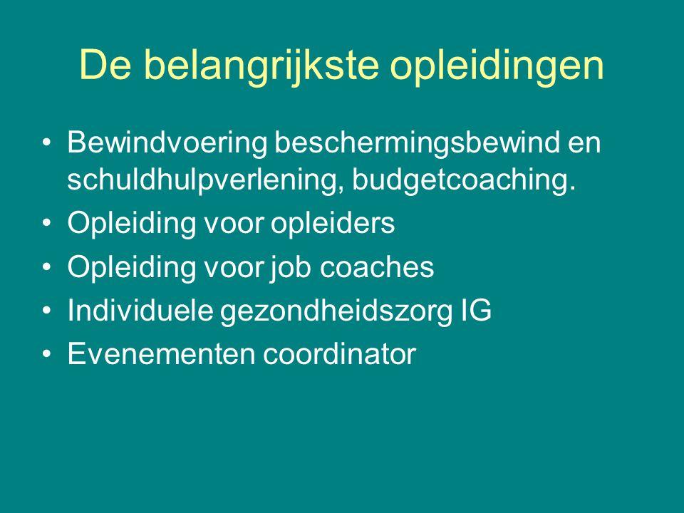 De belangrijkste opleidingen •Bewindvoering beschermingsbewind en schuldhulpverlening, budgetcoaching. •Opleiding voor opleiders •Opleiding voor job c
