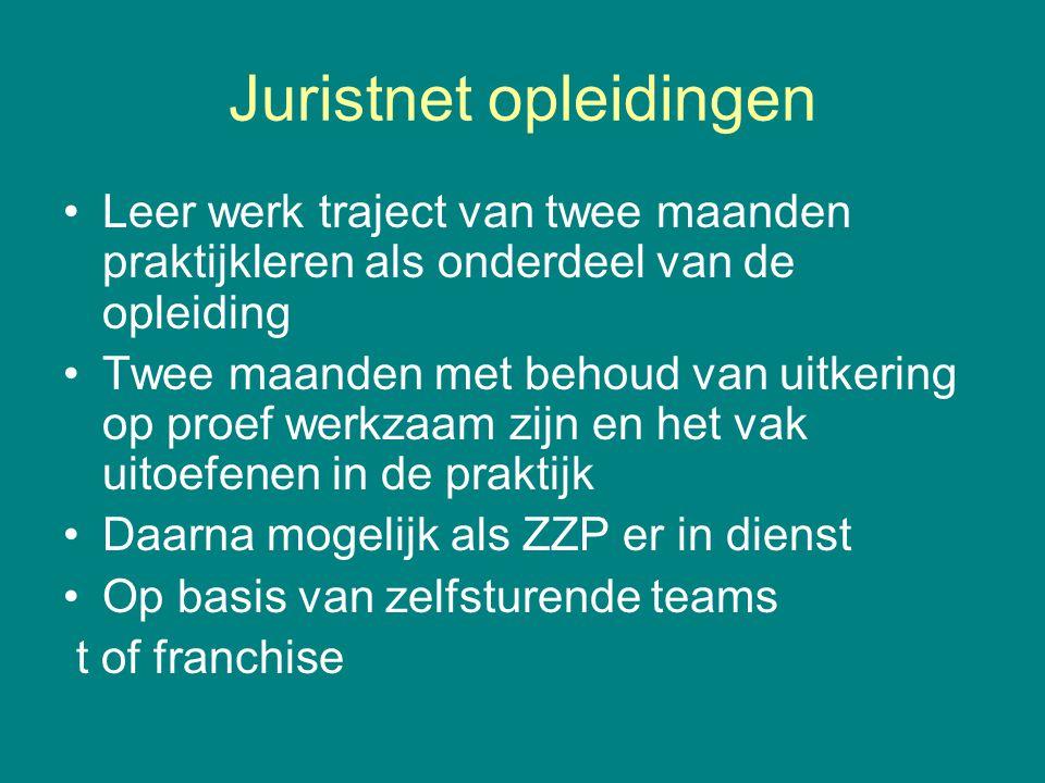 Juristnet opleidingen •Leer werk traject van twee maanden praktijkleren als onderdeel van de opleiding •Twee maanden met behoud van uitkering op proef
