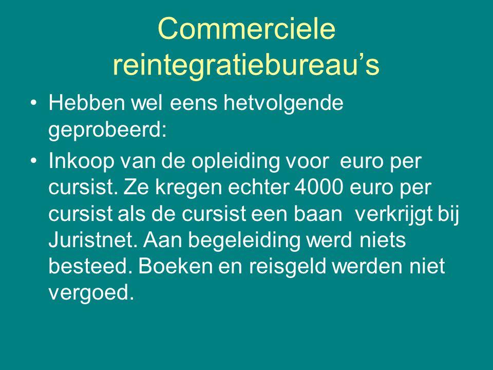Commerciele reintegratiebureau's •Hebben wel eens hetvolgende geprobeerd: •Inkoop van de opleiding voor euro per cursist. Ze kregen echter 4000 euro p