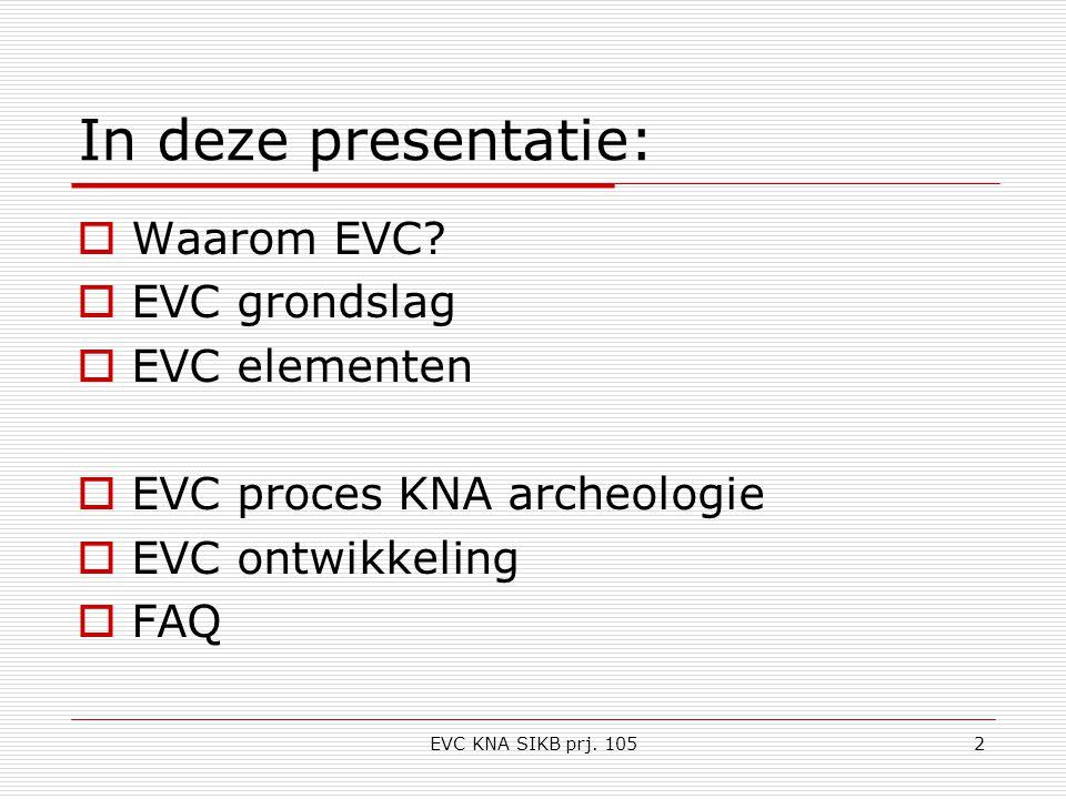 EVC KNA SIKB prj. 1052 In deze presentatie:  Waarom EVC.
