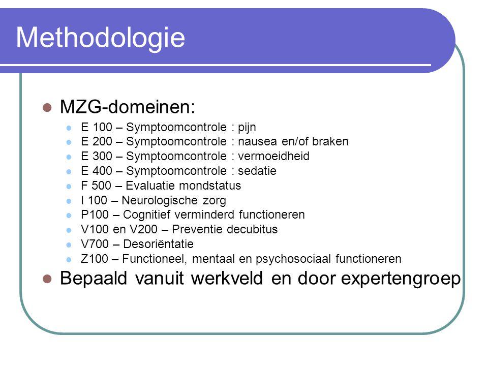  MZG-domeinen:  E 100 – Symptoomcontrole : pijn  E 200 – Symptoomcontrole : nausea en/of braken  E 300 – Symptoomcontrole : vermoeidheid  E 400 –