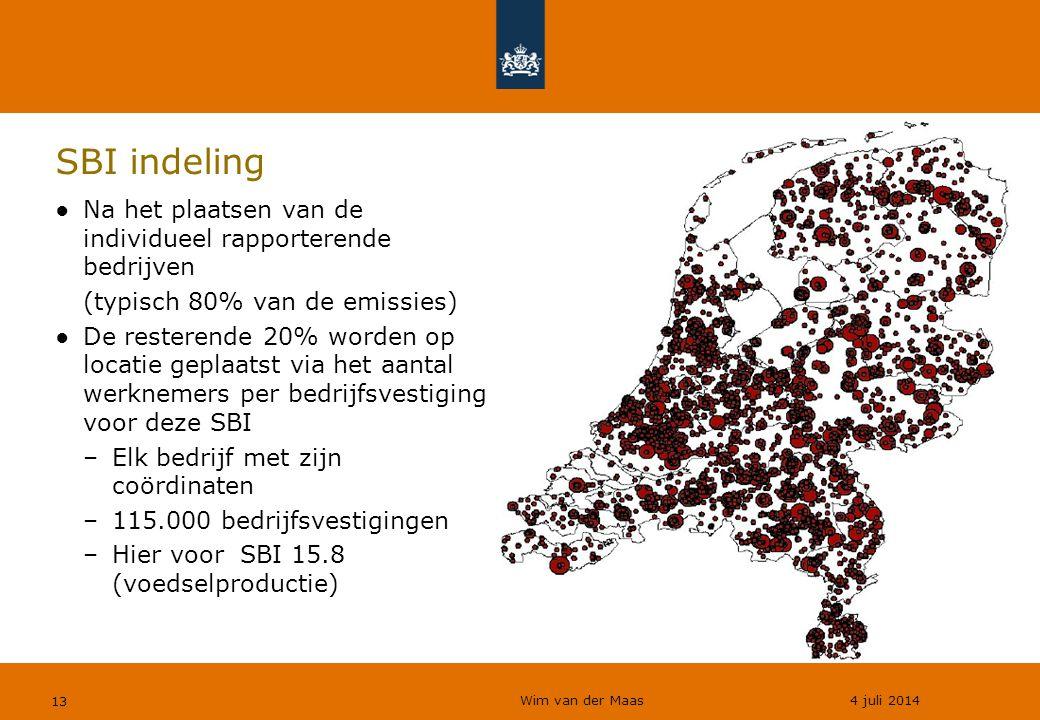 Wim van der Maas 4 juli 2014 13 SBI indeling ●Na het plaatsen van de individueel rapporterende bedrijven (typisch 80% van de emissies) ●De resterende 20% worden op locatie geplaatst via het aantal werknemers per bedrijfsvestiging voor deze SBI –Elk bedrijf met zijn coördinaten –115.000 bedrijfsvestigingen –Hier voor SBI 15.8 (voedselproductie)