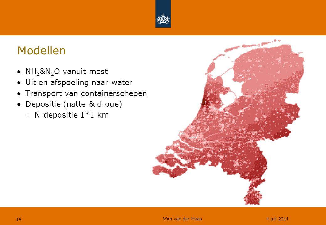Wim van der Maas 4 juli 2014 14 Modellen ●NH 3 &N 2 O vanuit mest ●Uit en afspoeling naar water ●Transport van containerschepen ●Depositie (natte & dr