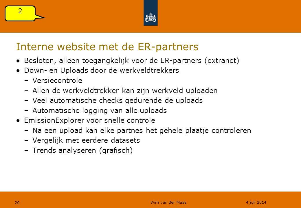 Wim van der Maas 4 juli 2014 20 Interne website met de ER-partners ●Besloten, alleen toegangkelijk voor de ER-partners (extranet) ●Down- en Uploads do