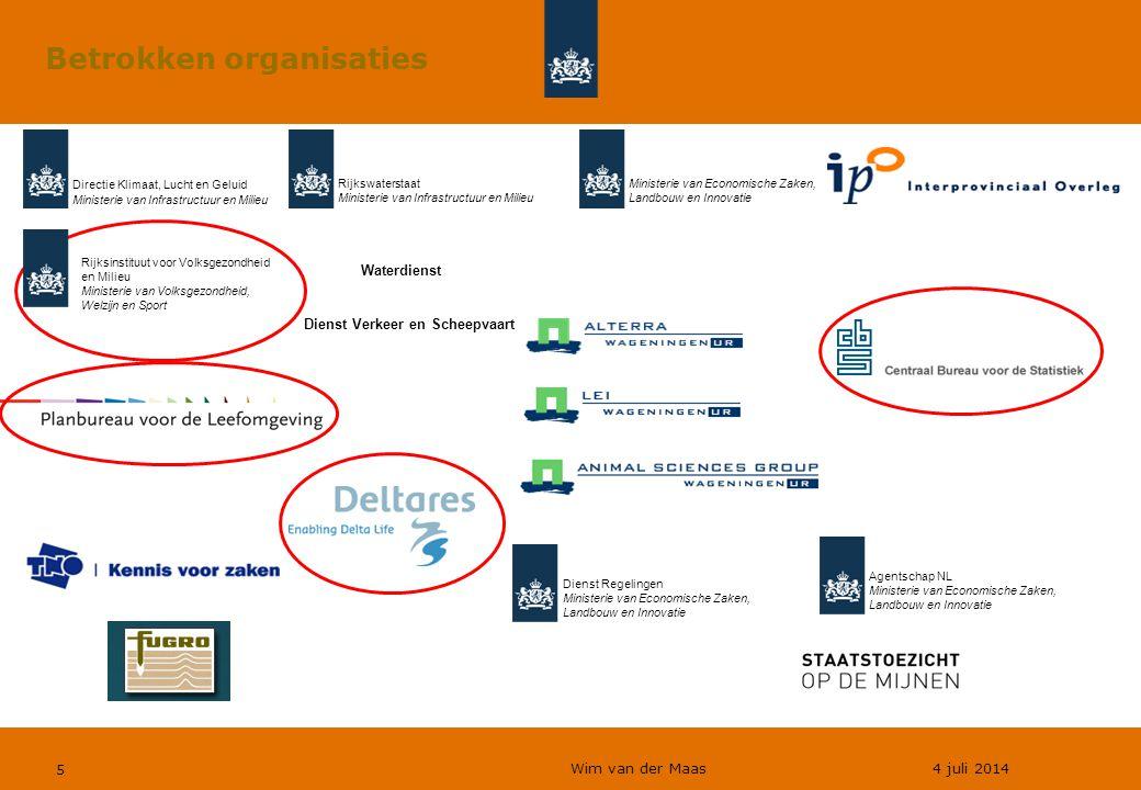 Wim van der Maas 4 juli 2014 5 Betrokken organisaties Dienst Verkeer en Scheepvaart Directie Klimaat, Lucht en Geluid Ministerie van Infrastructuur en