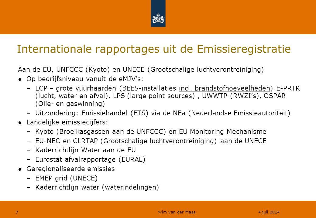 Wim van der Maas 4 juli 2014 8 Data in de ER Emissies van 2600 bedrijfsvestigingen 650 emissieoorzaken met nationale emissies en activiteitsniveau's Verdeeld in 55 'werkvelden' (voor de Emissiedeskundigen) 5 Taakgroepen ●Energiesector, industrie en afvalverwerking ●Landbouw ●Verkeer ●Water ●Consumenten Diffuse bronnen Berekende emissies per bedrijfstak (SBI) eMJV / IPPC- inrichtingen