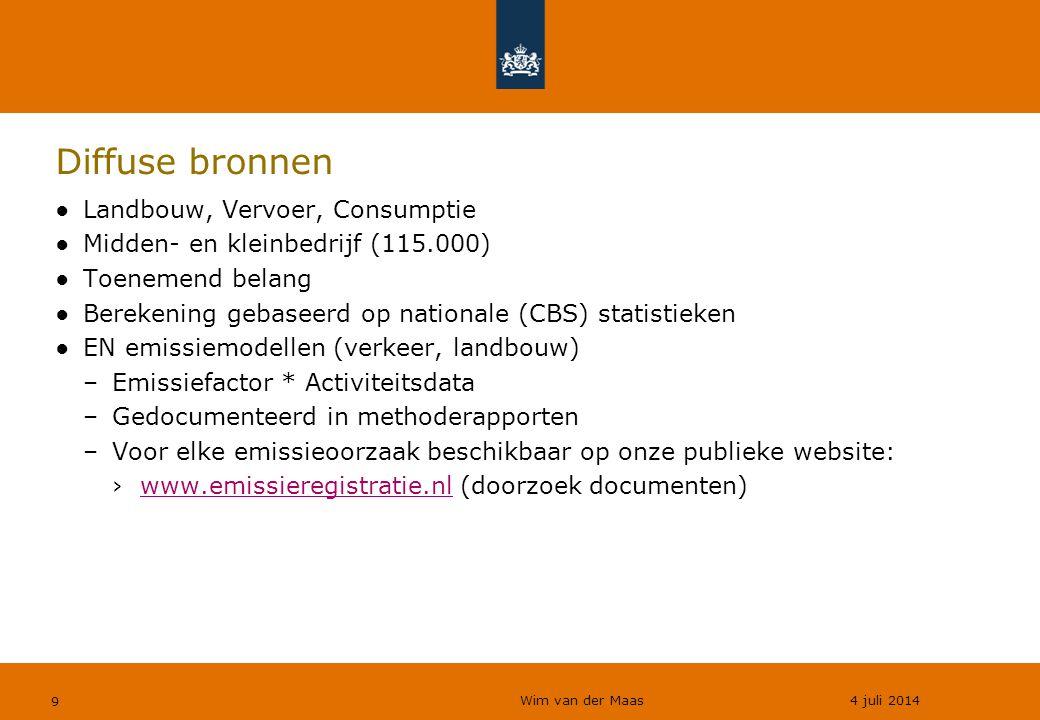 Wim van der Maas 4 juli 2014 9 Diffuse bronnen ●Landbouw, Vervoer, Consumptie ●Midden- en kleinbedrijf (115.000) ●Toenemend belang ●Berekening gebaseerd op nationale (CBS) statistieken ●EN emissiemodellen (verkeer, landbouw) –Emissiefactor * Activiteitsdata –Gedocumenteerd in methoderapporten –Voor elke emissieoorzaak beschikbaar op onze publieke website: ›www.emissieregistratie.nl (doorzoek documenten)www.emissieregistratie.nl