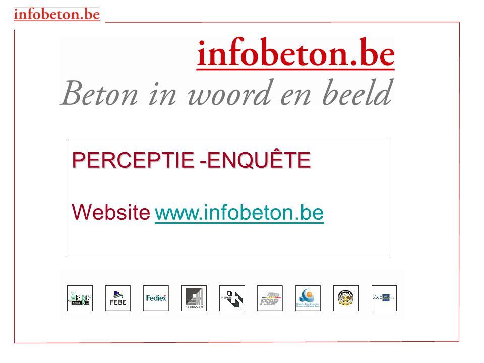 •ENQUETE : 10 VRAGEN - 6 « gesloten » vragen - 4 « open » vragen - (3 geanalyseerd) •OP www.infobeton.be (vóór- Batibouw) www.infobeton.be - van 12 januari tot en met 20 februari 2009 •300 GRATIS TICKETS TE WINNEN •3204 DEELNEMINGEN: - 1628 FR - 1576 NL PRESENTATIE DOELSTELLING  verbetering van www.infobeton.be afhankelijk van de resultaten van de enquête www.infobeton.be