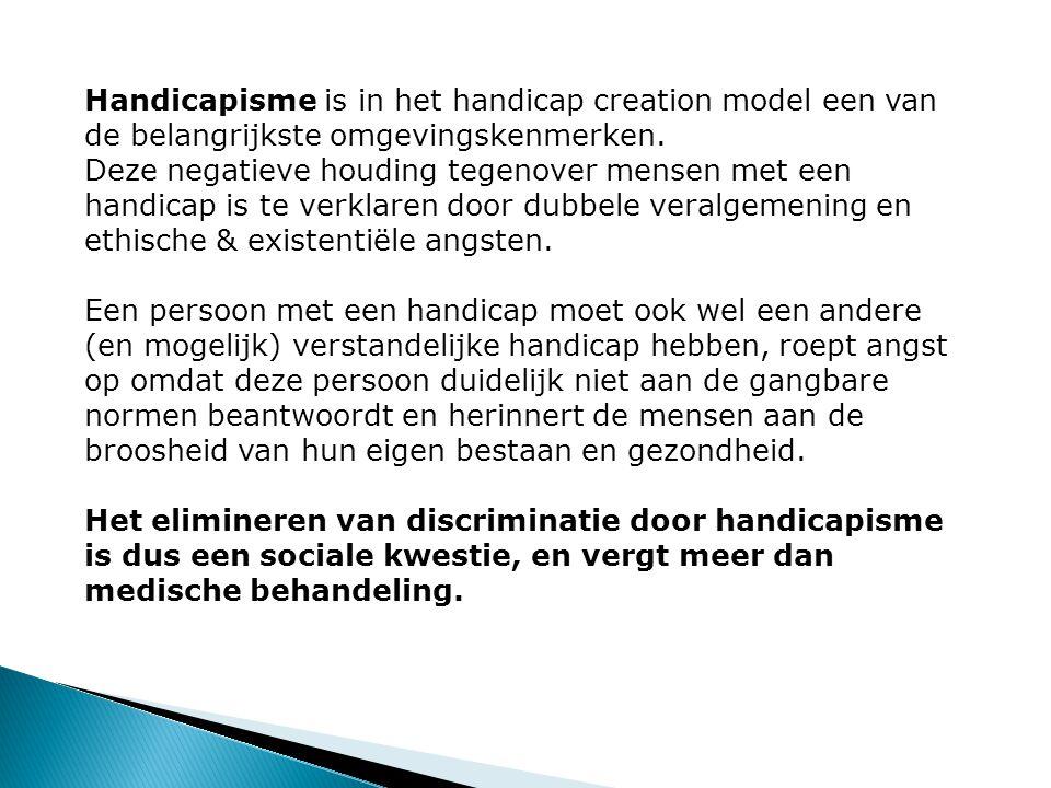 Handicapisme is in het handicap creation model een van de belangrijkste omgevingskenmerken. Deze negatieve houding tegenover mensen met een handicap i