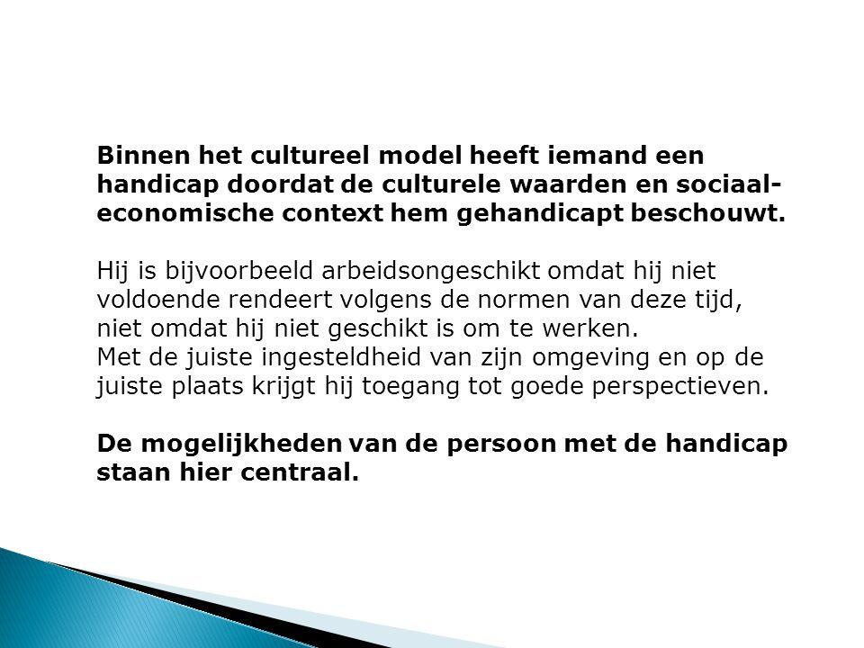 Binnen het cultureel model heeft iemand een handicap doordat de culturele waarden en sociaal- economische context hem gehandicapt beschouwt.