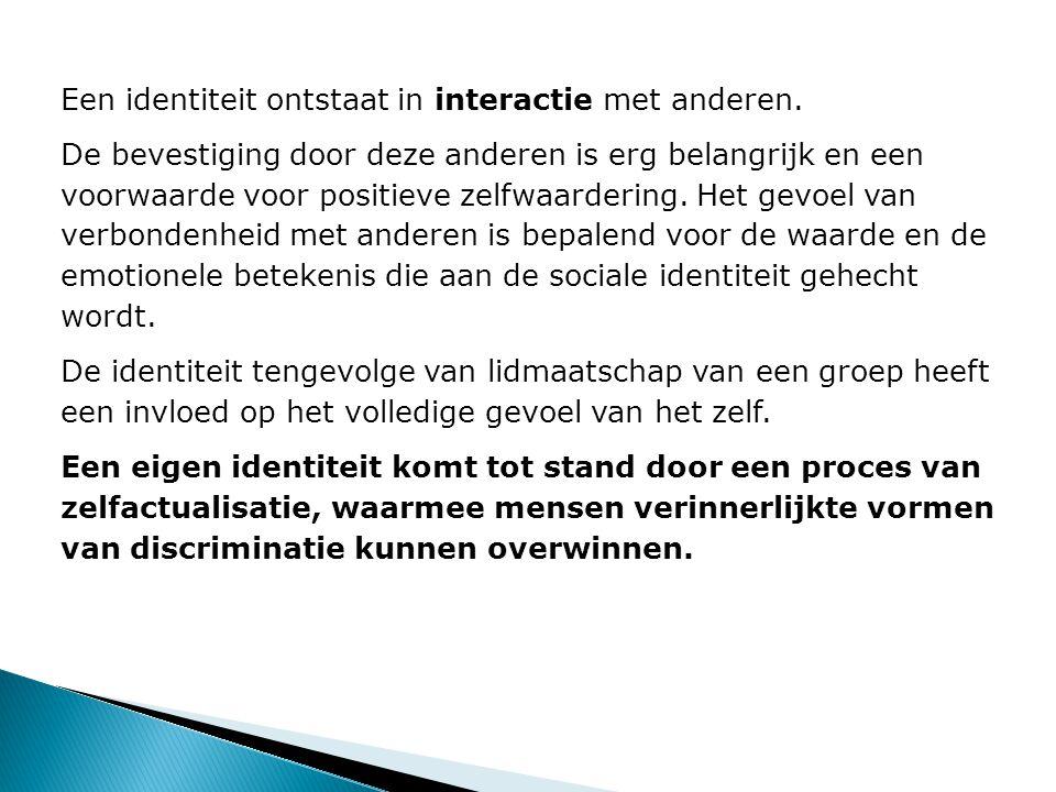 Een identiteit ontstaat in interactie met anderen.