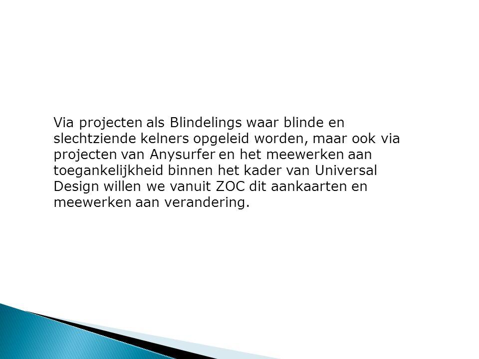 Via projecten als Blindelings waar blinde en slechtziende kelners opgeleid worden, maar ook via projecten van Anysurfer en het meewerken aan toegankelijkheid binnen het kader van Universal Design willen we vanuit ZOC dit aankaarten en meewerken aan verandering.