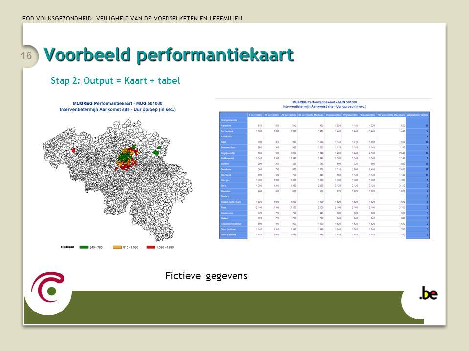 FOD VOLKSGEZONDHEID, VEILIGHEID VAN DE VOEDSELKETEN EN LEEFMILIEU 16 Fictieve gegevens Stap 2: Output = Kaart + tabel Voorbeeld performantiekaart