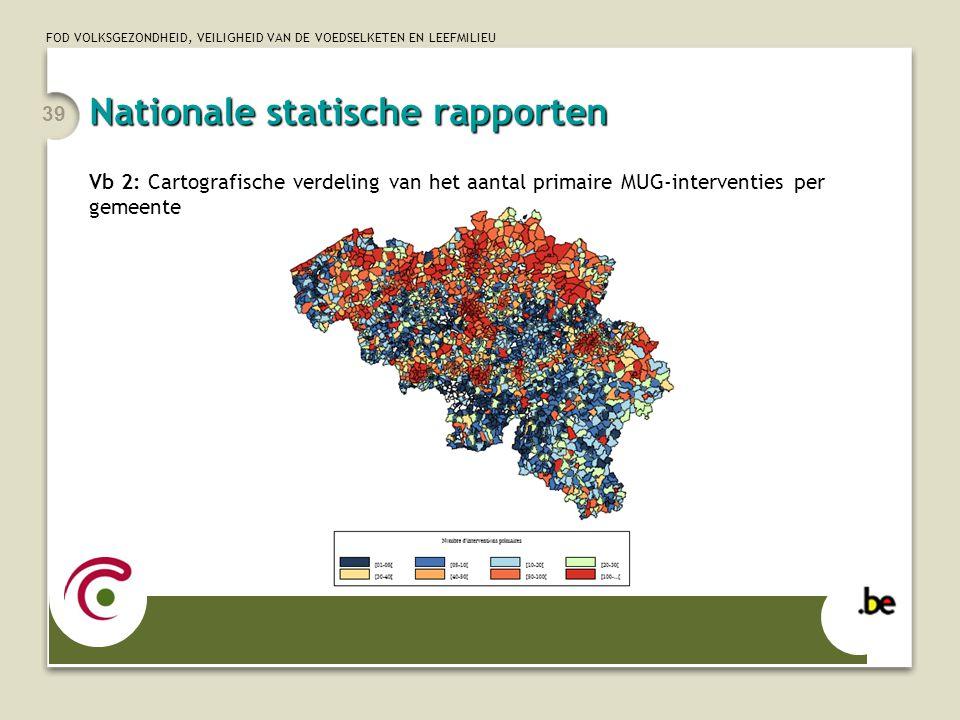 FOD VOLKSGEZONDHEID, VEILIGHEID VAN DE VOEDSELKETEN EN LEEFMILIEU 39 Vb 2: Cartografische verdeling van het aantal primaire MUG-interventies per gemee