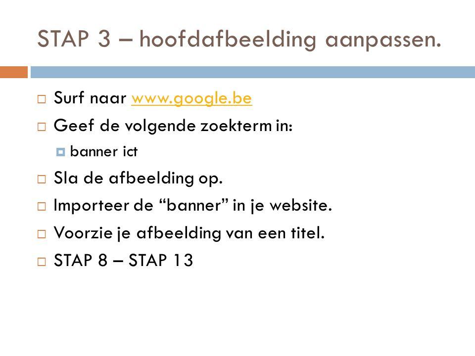 STAP 3 – hoofdafbeelding aanpassen.