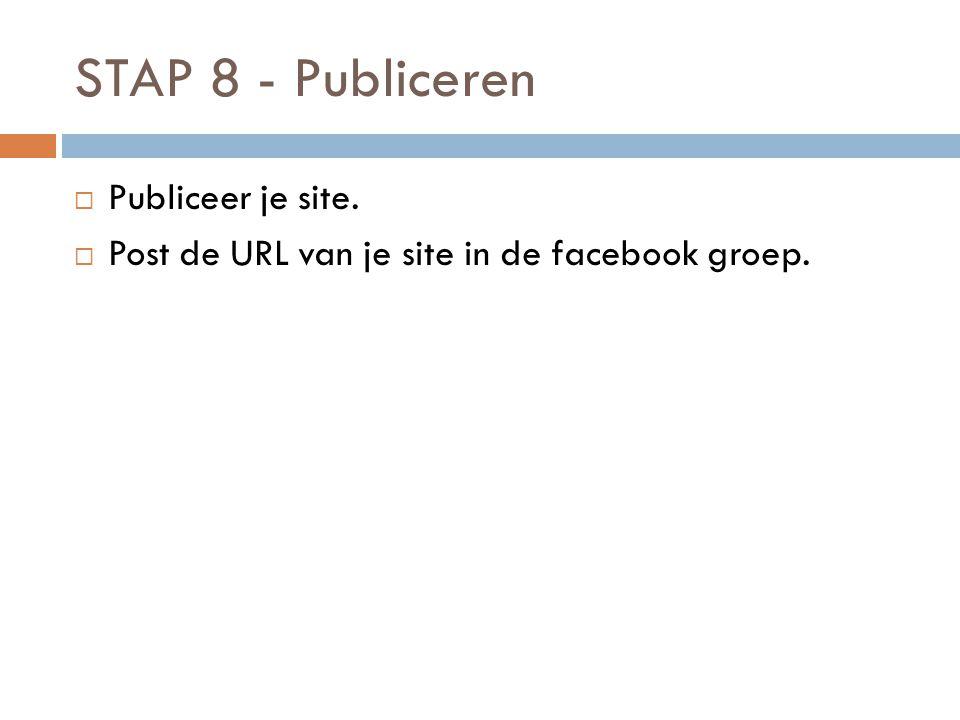 STAP 8 - Publiceren  Publiceer je site.  Post de URL van je site in de facebook groep.