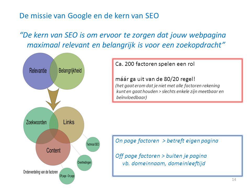 """De missie van Google en de kern van SEO """"De kern van SEO is om ervoor te zorgen dat jouw webpagina maximaal relevant en belangrijk is voor een zoekopd"""